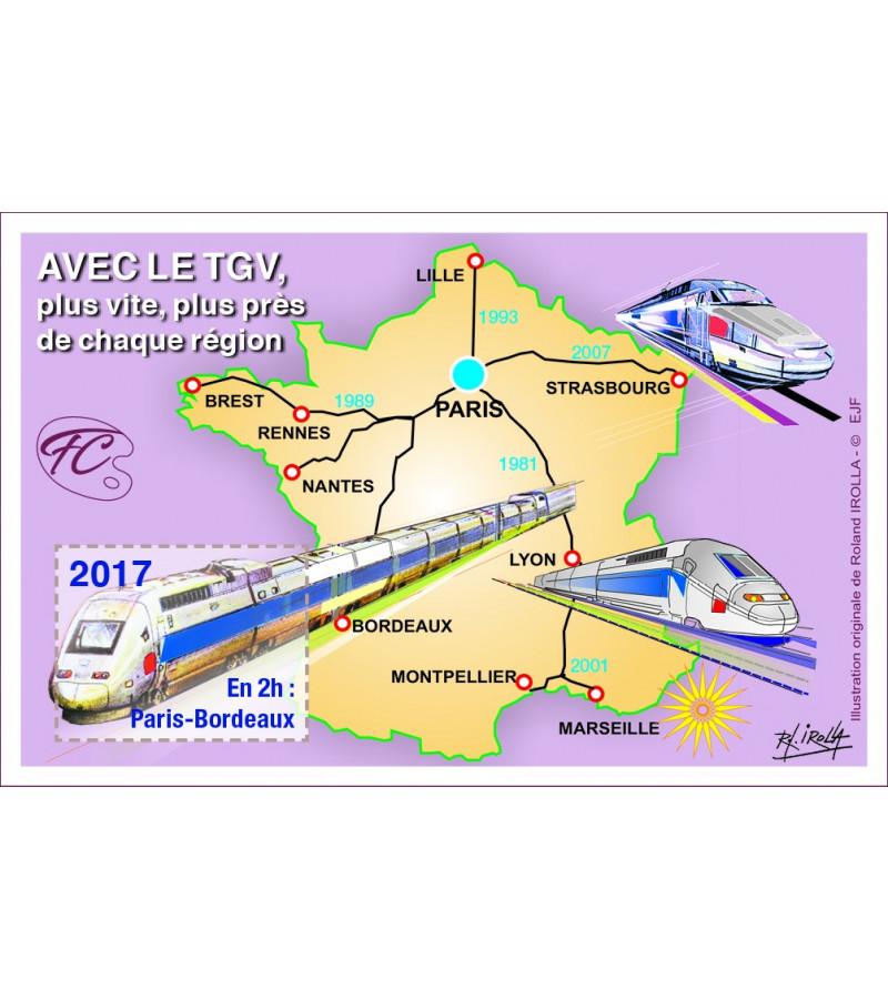 FEUILLET COMMEMORATIF LE TGV EN FRANCE
